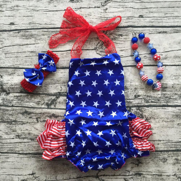 Baby Girl fourth of july Romper Pretty lace Romper newborn girl 4th of july star print baby satin outfit set Baby > Rompers and Jumpsuits - KidNappy