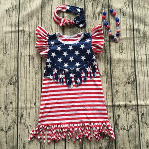 sleeveless kids july 4th Dresses Baby girl summer American flag tassels dress with headband and necklace Girl > Dresses - KidNappy