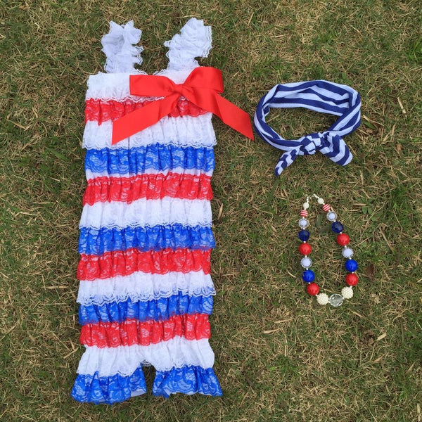 4th of july baby lace jumpsuit summer style fourth of July infant July 4th Patriotic rompers Baby > Rompers and Jumpsuits - KidNappy