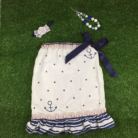 baby girls dress 4th of July dress Navy Little Star Printed Fashion Sleeveless Ruffle Hot Sundress Girl > Dresses - KidNappy