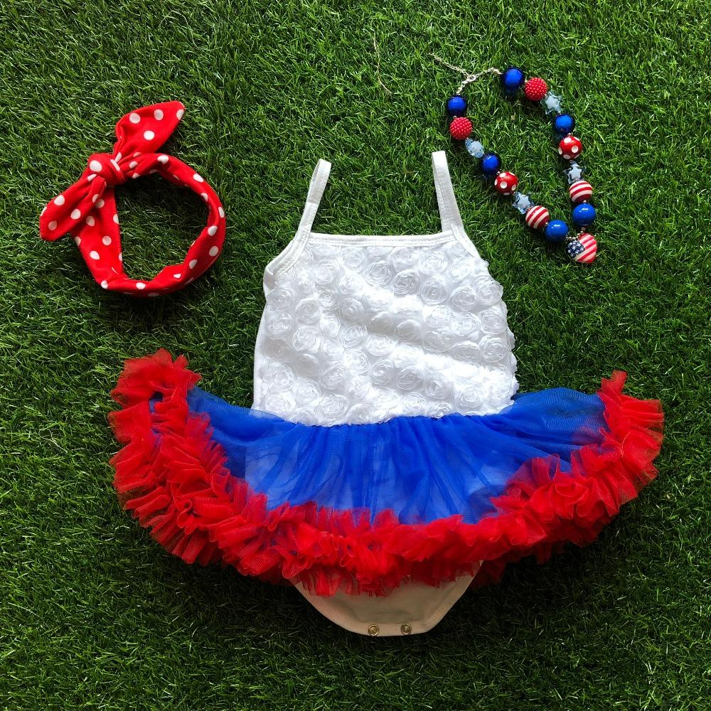 856d3b4c2 Baby Girl july 4th baby romper tutu dress with necklace and headband 4th of july  girl