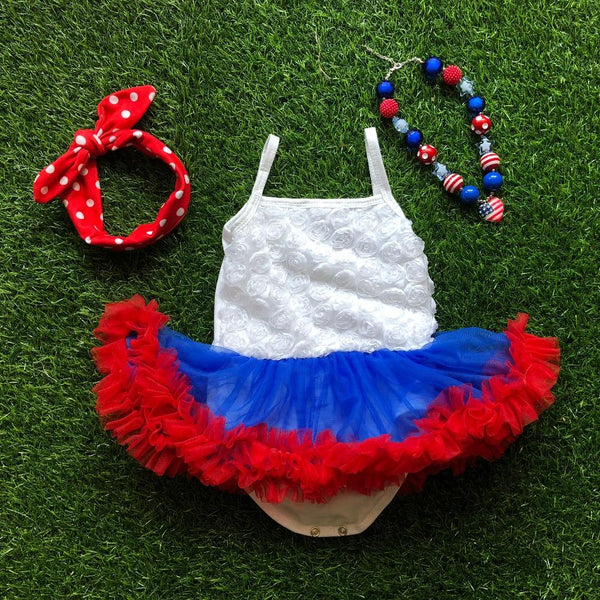 Baby Girl july 4th baby romper tutu dress with necklace and headband 4th of july girl outfits Girl > Party Wears > Tutu Gowns - KidNappy