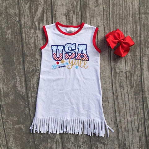 baby girls Summer dress children July 4th dress children kids USA tassel dress baby girls boutique july 4th dress with bows Girl > Dresses - KidNappy