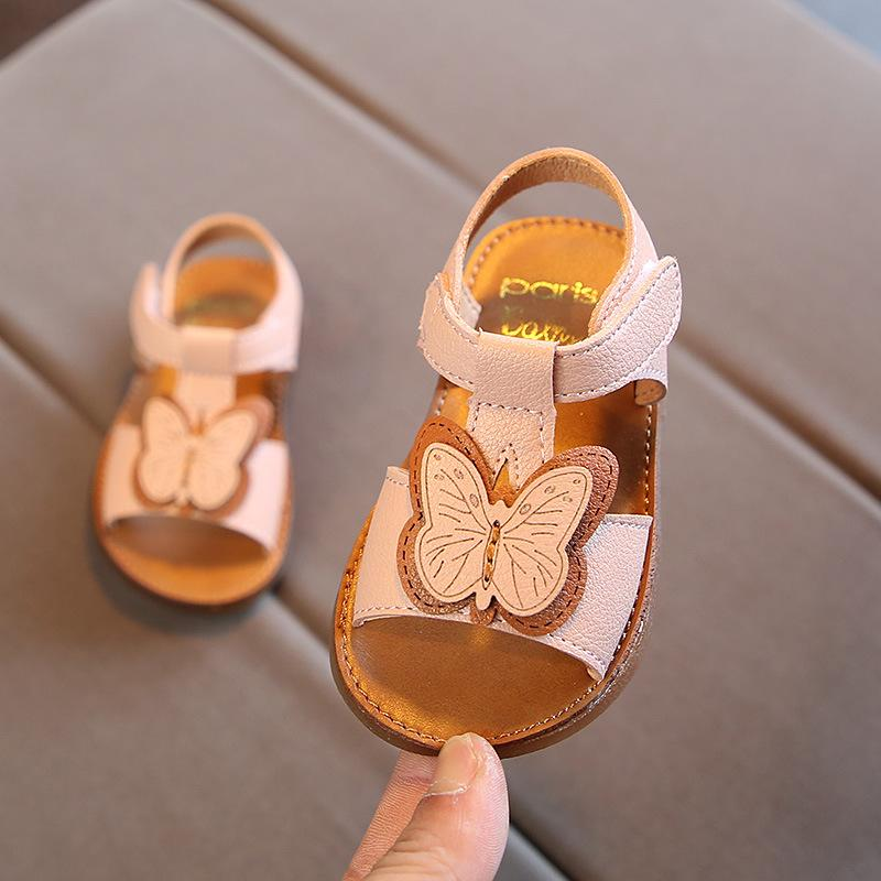 51bff59077559 Baby Girls Sandals Pu Leather Cute Butterfly Soft Summer Shoes Infant Girls  T-Strap Princess