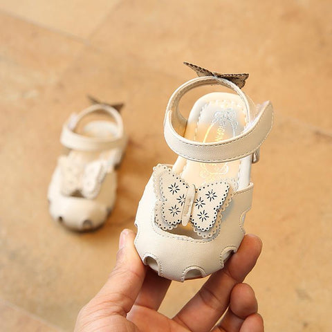 Kids Sandals PU Leather Baby Girls Hollow Butterfly Sandals Closed Toe Infant Party Soft First Walkers