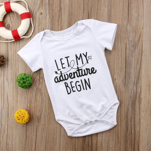 0-24M Baby Boy Girls Letters Romper Summer Newborn Kids Short sleeve Outfits Baby > Rompers and Jumpsuits - KidNappy