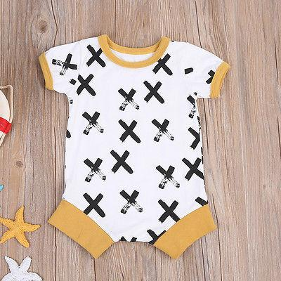 9989906627f Cotton Unisex Baby One Piece Short Sleeve Cross Print Rompers Jumpsuit