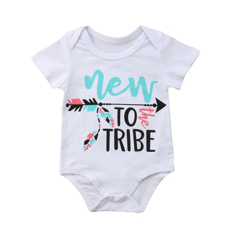 New to the tribe Unisex Baby Romper Outfit Newborn Sunsuit