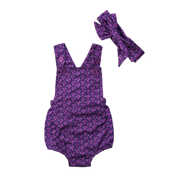 Baby Girl Mermaid Purple Romper with headband Sunsuit Outfit Baby > Rompers and Jumpsuits - KidNappy