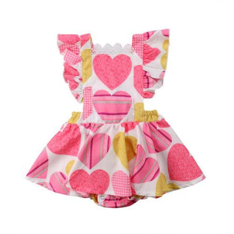 Toddler Kids Baby Girl Heart Print Lace Romper Backless Sunsuit Outfit