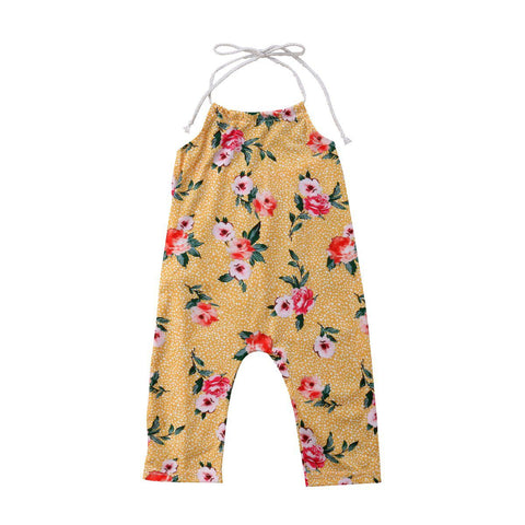 Newborn Toddler Baby Kids Girls Flower Halter Romper Jumpsuit Outfit Clothes