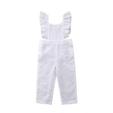 Toddler Infant Baby Girls Pure White Backless Jumpsuit Outfits Playsuit
