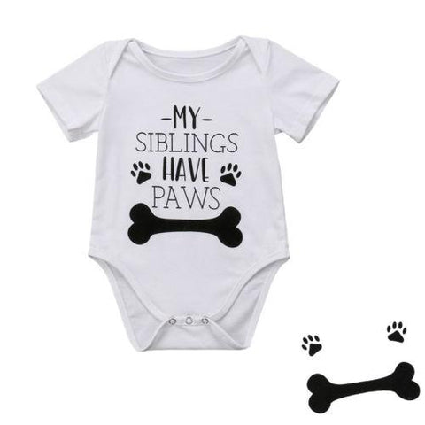 My Siblings Have Paws Unisex Baby Romper