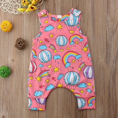 Unisex Baby balloon Pink Romper Jumpsuit Sleeveless Summer Outfits