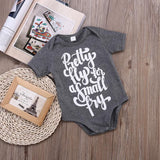 Pretty fly for a small fry romper Baby Casual Romper Gray Color Letter Printed Romper Outfits 3-24M Baby > Rompers and Jumpsuits - KidNappy