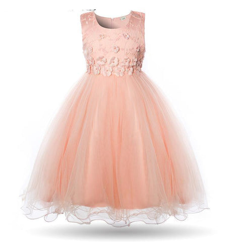 Flower Girls Dress Pageant Summer Kids Ball Gown Evening Party Dress Birthday Frock Children Knee Length Gown