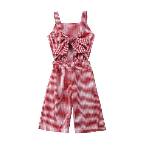Baby Girls Plaid Chest Bowknot Strap Red Romper Jumpsuit Summer Outfits Baby > Rompers and Jumpsuits - KidNappy