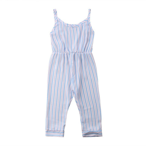 Strap Stripes Jumpsuit Newborn Infant Baby Girl Loose Rompers Summer Clothes Outfit One-Pieces 1-6Y