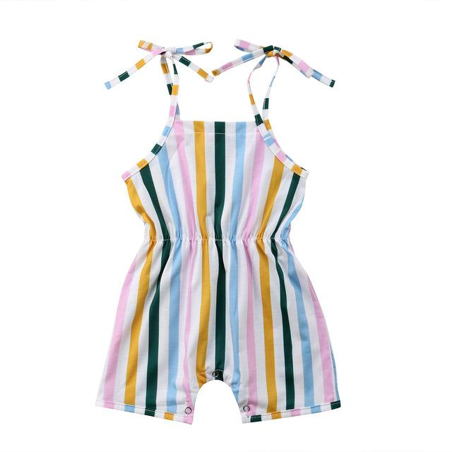 ed2bb1291 Summer Strap Lace Up Rompers 0-3Y Newborn Infant Baby Girls Stripes ...