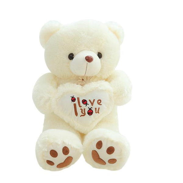 50-100cm White Color Stuffed Holding LOVE Heart Big Plush Teddy Bear Toys > Plush Toys > Animal Plush Toys > Bear Plush Toys - KidNappy