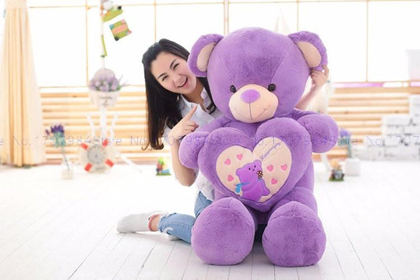 Hold the heart bear Purple Color Plush Toy lovers Bear Cloth stuffed plush Bear Toy