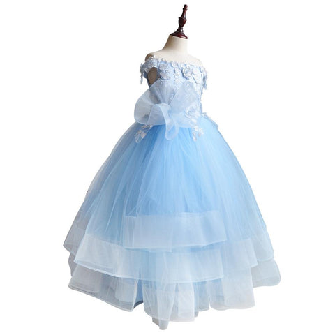 Children Princess Dress Flower Girl Wedding Evening Ankle Length Girl Fluffy Blue Cinderella Cosplay Party Costume