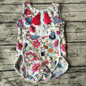 Baby Girl Pretty summer Romper Flower Sleeveless Pom Pom Romper Baby > Rompers and Jumpsuits > Floral - KidNappy