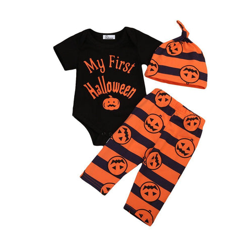 Halloween Baby Sets Infant Baby Boy Girls Cotton Romper Tops Pumpkin Long Pants Hats Outfits Clothes Set Summer Autumn Clothing
