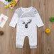 Unisex Baby Bodysuit Xmas Long Sleeve Deer Printed fall Jumpsuit