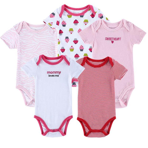 5 pcs/lot Baby Bodysuit 100% Cotton Toddler Jumpsuit Spring Baby Newborn Baby Overall Clothes Baby > Rompers and Jumpsuits - KidNappy