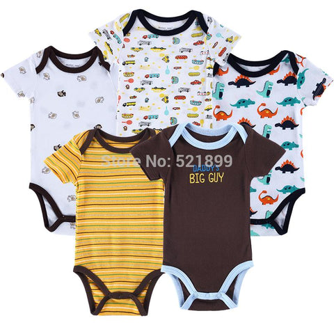 5 pcs / lot Luvable Friends Car Themed Baby Clothing Baby Bodysuits Short Sleeve Baby Bodysuit Summer Baby Boy&Jumpsuit Baby > Rompers and Jumpsuits - KidNappy