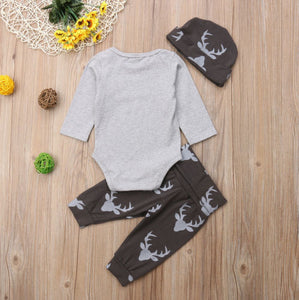 3Pcs Infant Kids Baby Boys Little MAN Romper + Long Pants + Hat Baby > Rompers and Jumpsuits - KidNappy