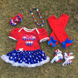 baby Kids July 4th romper Minnie pettidress Patriotic petticoat with matching necklace hair bow and leg warmers set Girl > Dresses - KidNappy