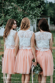 Fay | Peach Tulle Bridesmaids Skirts with Alyssa Top