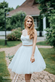 "A-line Bridal Knee/Tea Length ""LUMINA"" White or Ivory Full Sun A-line Tulle Skirts and Stella Silk Satin Bustier available in Plus Sizes - StylishBrideAccs"