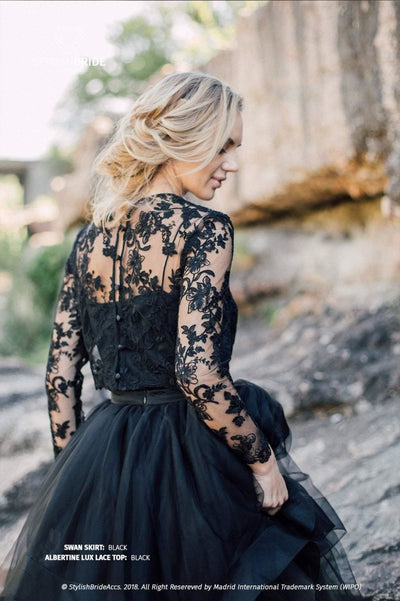 Albertine | Black Swan Engagement Lace top - StylishBrideAccs