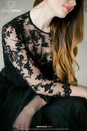 Albertine | Engagement Long Sleeves Black Lace Top - StylishBrideAccs