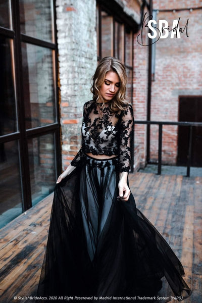 Albertine | Prom Black Tulle Maxi Dress - StylishBrideAccs