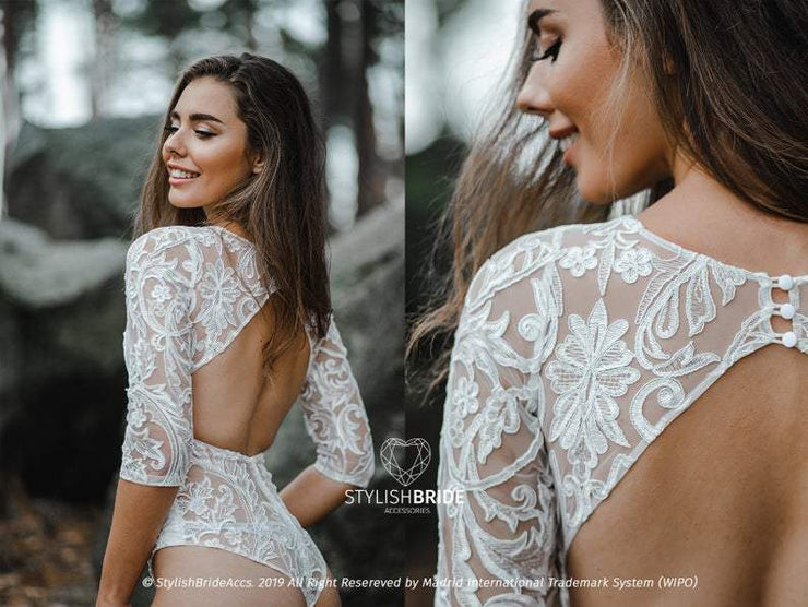 Alice Lux Backless 2020 Bridal Bodysuit - StylishBrideAccs
