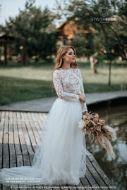 Alice Lux Bridal Separates: Fay Tulle Skirt with Train and Lux Handmade Lace Top with Nude Lining available in Plus Sizes - StylishBrideAccs