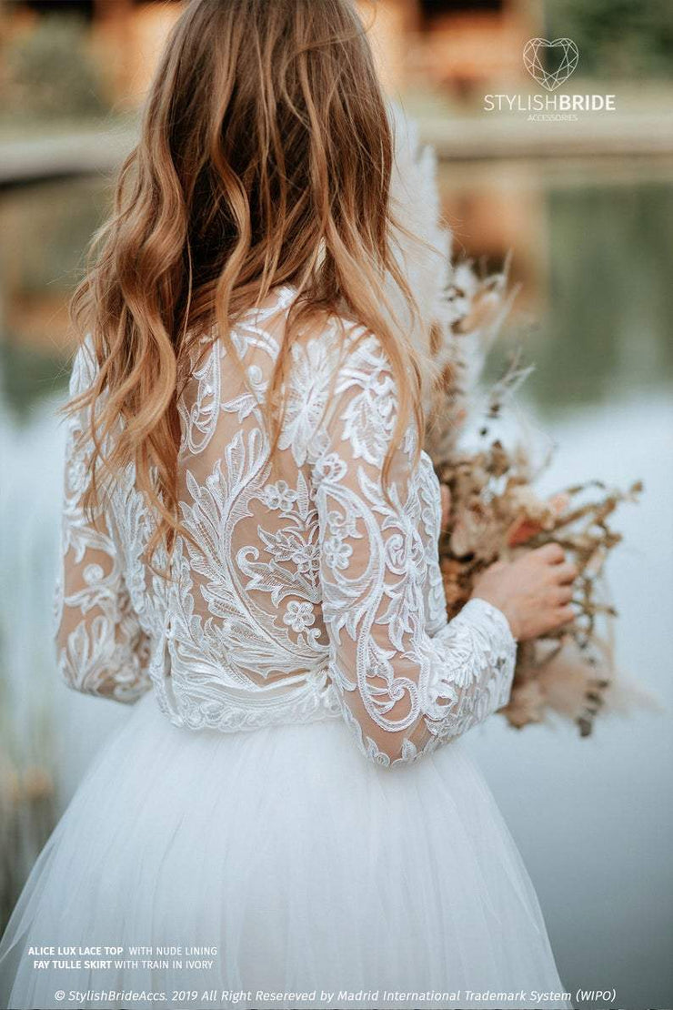 Alice Lux Lace Crop Top Buttoned Back with Nude Lining Transparent Effect, available in Plus Sizes - StylishBrideAccs