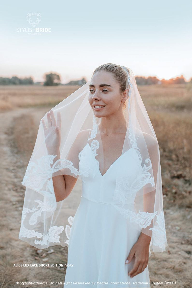 Alice Lux | Veil Hip Length with Big Lace Pattern - StylishBrideAccs