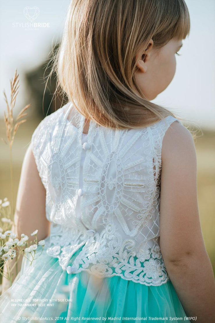 Allure | Flower Girl Lace Top with Silk Cami - StylishBrideAccs
