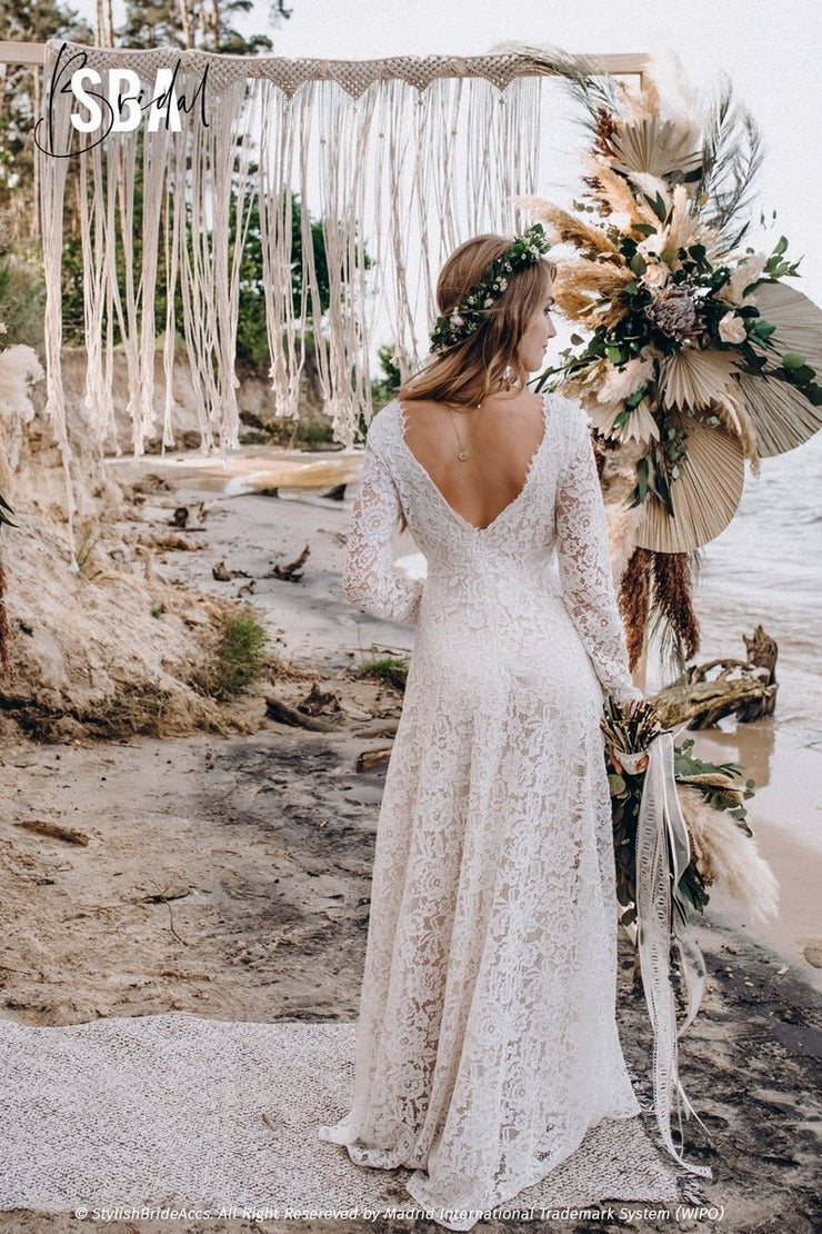 Alyssa | Rustic lace bridal dress - StylishBrideAccs