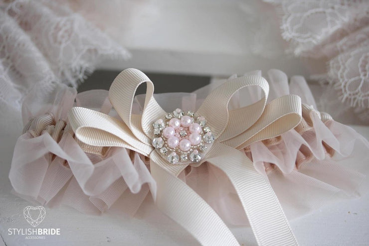 Amazing Wedding Garter Blush, Pink Bridal Garter, Crystals Blush Garter, Tulle Blush Wedding Garter - StylishBrideAccs