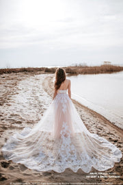 Amore | Bridal Lace Overskirt with train - StylishBrideAccs