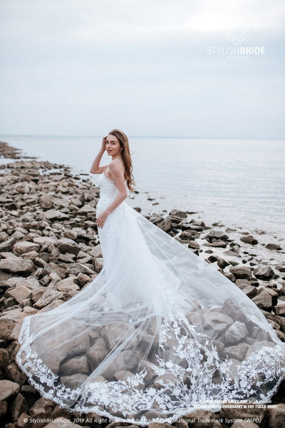 Amore | Floral Wedding Dress with Lace Overskirt - StylishBrideAccs