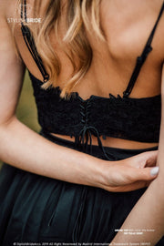 Amore | Prom Black Crop Top with Spaghetti Straps - StylishBrideAccs