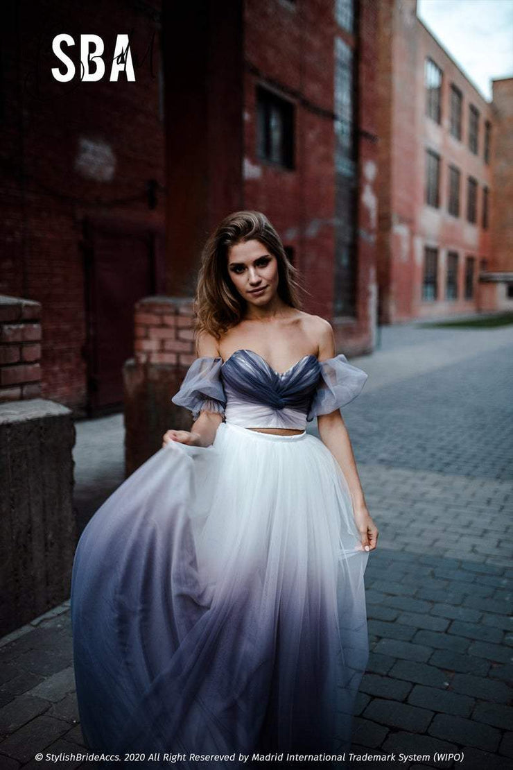 Angel | Amethyst Ombre Bustier Lantern Sleeves - StylishBrideAccs