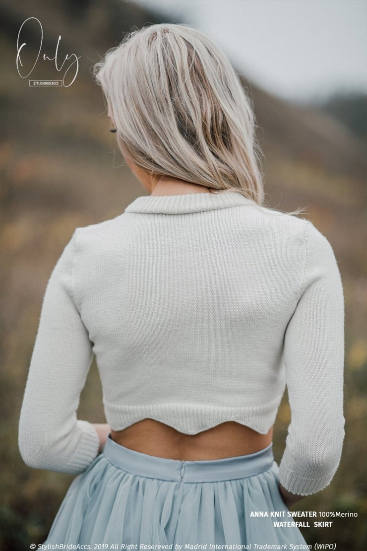 Anna Boho Simple Knit Sweater with Wave Bottom - StylishBrideAccs
